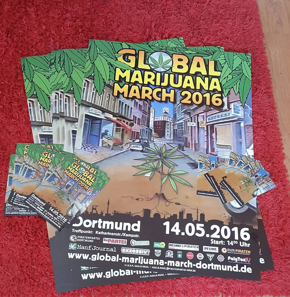 Flyer Plakate Aufkleber Global Marijuana March Dortmund